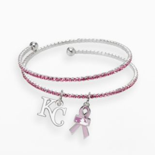 LogoArt Kansas City Royals Silver Tone Crystal Breast Cancer Awareness Charm Coil Bracelet