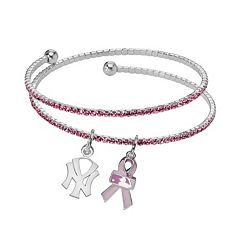 LogoArt New York Yankees Silver Tone Crystal Breast Cancer Awareness Charm Coil Bracelet