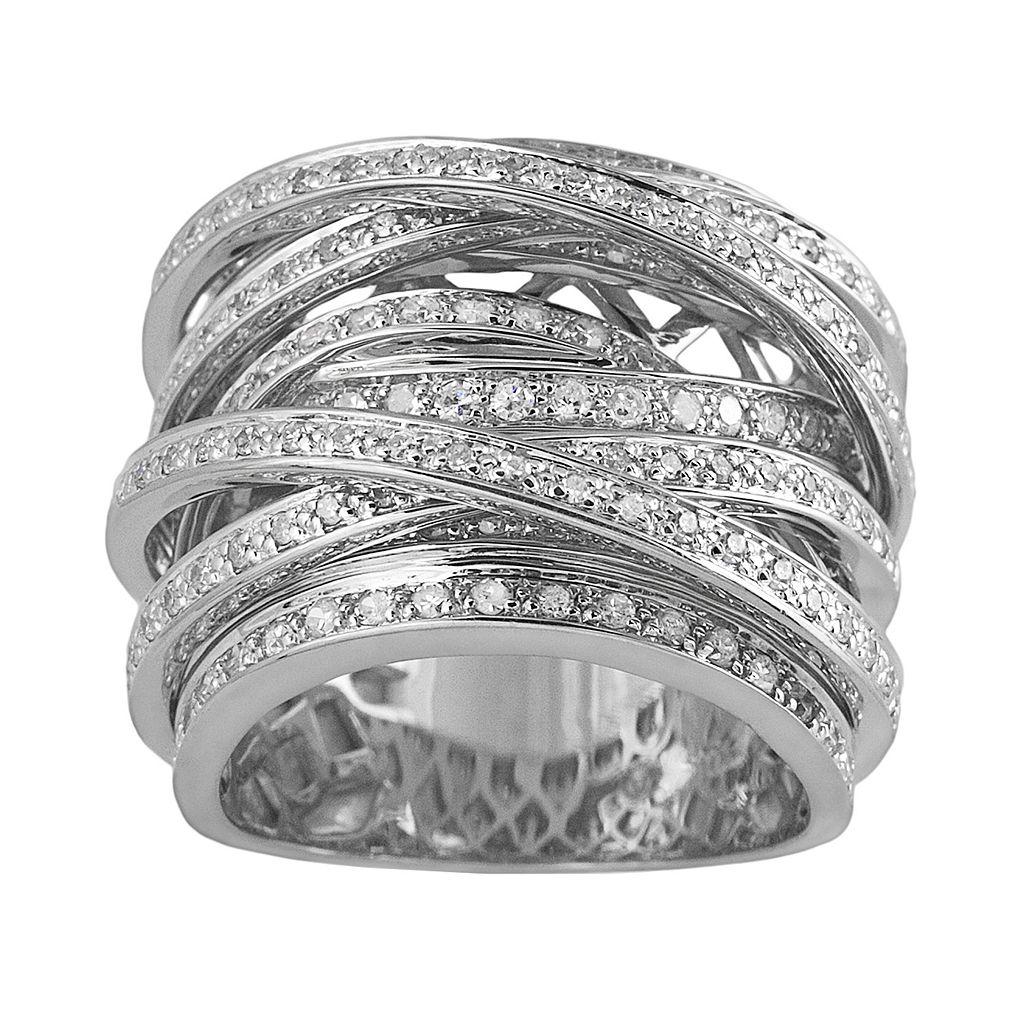 10k White Gold 1 1/2-ct. T.W. Round-Cut Diamond Crisscross Ring
