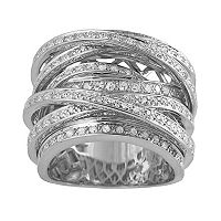 10k White Gold 1 1/2-ct. T.W. Round-Cut Diamond Crisscross Ring