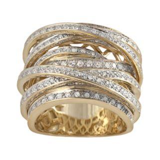 10k Gold 1 1/2-ct. T.W. Round-Cut Diamond Crisscross Ring