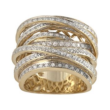 10k Gold 1 1/2-ct. T.W. Round-Cut Diamond Crisscross Ring