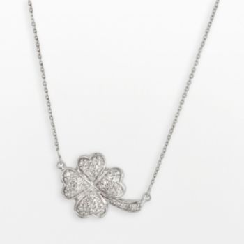Sterling Silver 1/4-ct. T.W. Round-Cut Diamond Clover Necklace