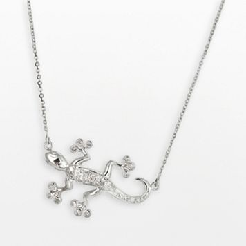Sterling Silver 1/5-ct. T.W. Round-Cut Diamond Gecko Necklace