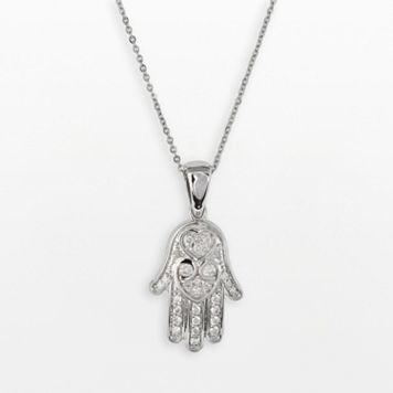 Sterling Silver 1/4-ct. T.W. Round-Cut Diamond Hamsa Pendant
