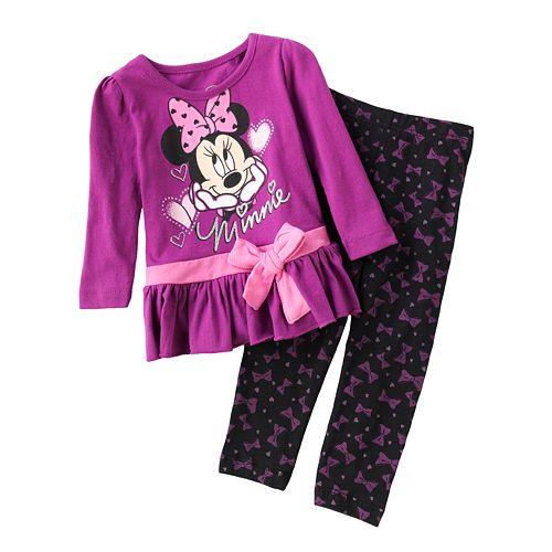 Peplum Tunic /& Leggings Set Disney Minnie Mouse Little Girls 2-Pc
