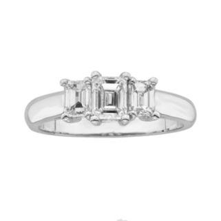 14k White Gold 1-ct. T.W. Emerald-Cut IGL Certified Colorless Diamond 3-Stone Ring