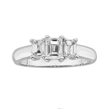 14k White Gold 1-ct. T.W. Emerald-Cut IGL Colorless Certified Diamond 3-Stone Ring