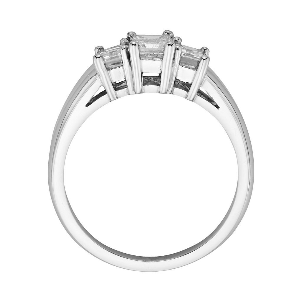 14k White Gold 1-ct. T.W. Emerald-Cut IGL Certified Colorless Diamond 3-Stone Ring