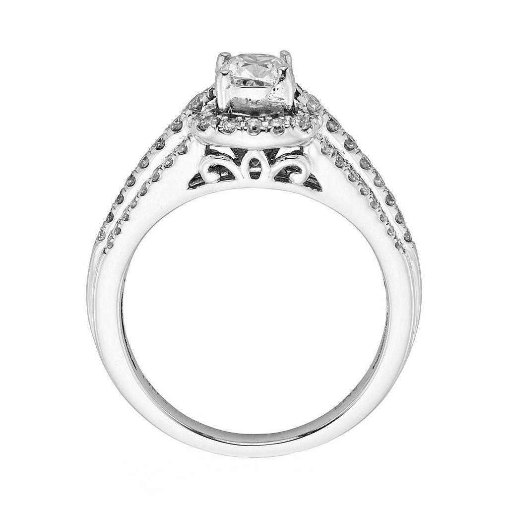 14k White Gold 1-ct. T.W. Cushion-Cut IGL Certified Diamond Frame Ring