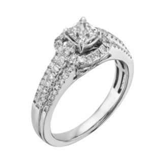 14k White Gold 1-ct. T.W. Cushion-Cut IGL Certified Diamond Frame Ring