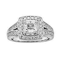 14k White Gold 1 1/2 ctT.W. Cushion-Cut IGL Certified Diamond Frame Ring