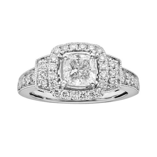 14k White Gold 1 1/2-ct. T.W. Cushion-Cut IGL Certified Diamond Frame Ring