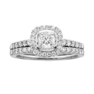 14k White Gold 1-ct. T.W. Cushion-Cut IGL Certified Diamond Frame Ring Set