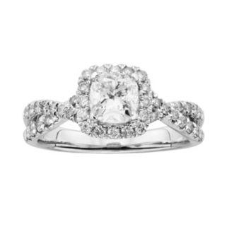 IGL Certified Diamond Twist Engagement Ring in 14k White Gold (1 1/2 ct. T.W.)