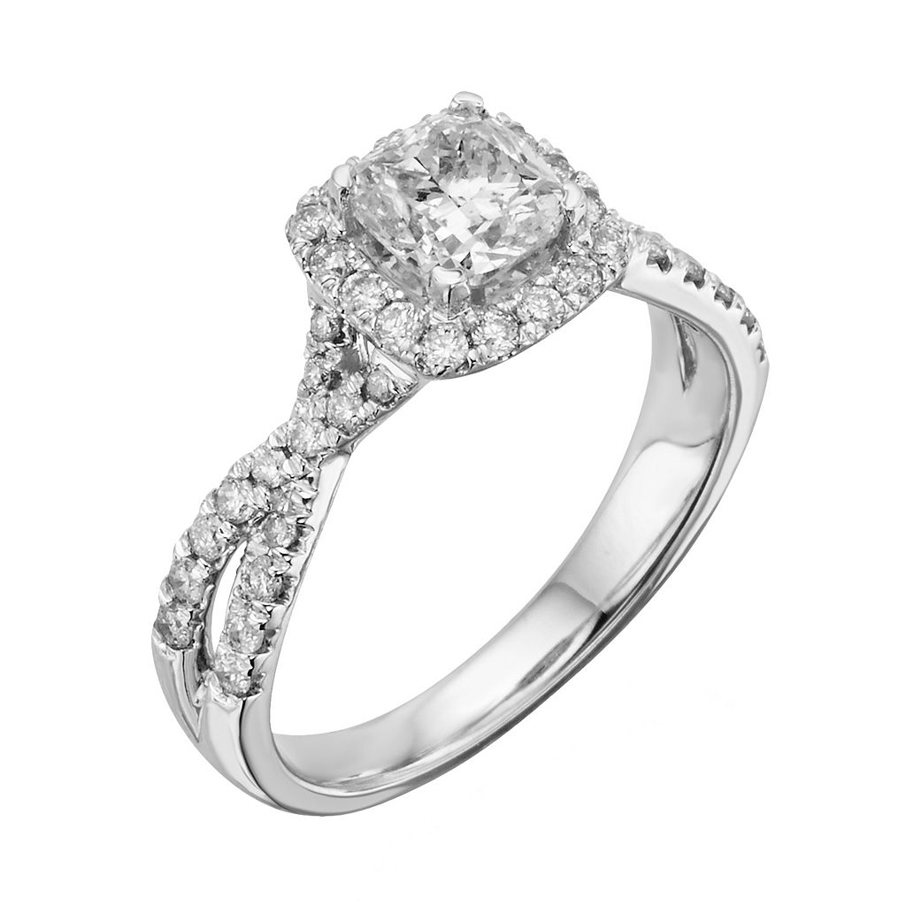 IGL Certified Diamond Twist Engagement Ring in 14k White Gold (1 1/2 ct. T.W.)