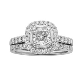 14k White Gold 1 1/2-ct. T.W. Cushion-Cut  IGL Certified Diamond Frame Ring Set
