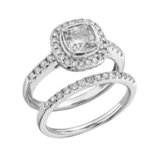 14k White Gold 1 1/2-ct. T.W. Cushion-Cut  IGL Certified Diamond Frame Ring Set