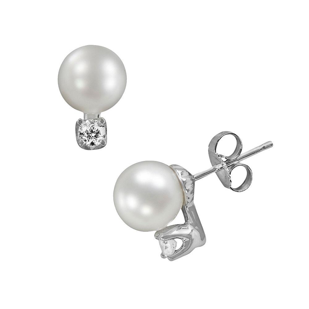 18k White Gold 1/6-ct. T.W. Diamond & AAA Akoya Cultured Pearl Stud Earrings