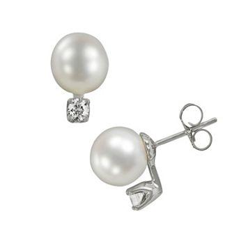 18k White Gold 1/5-ct. T.W. Diamond & AAA Akoya Cultured Pearl Stud Earrings