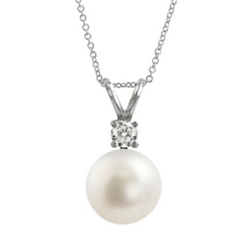 18k White Gold AAA Akoya Cultured Pearl and Diamond Accent Pendant