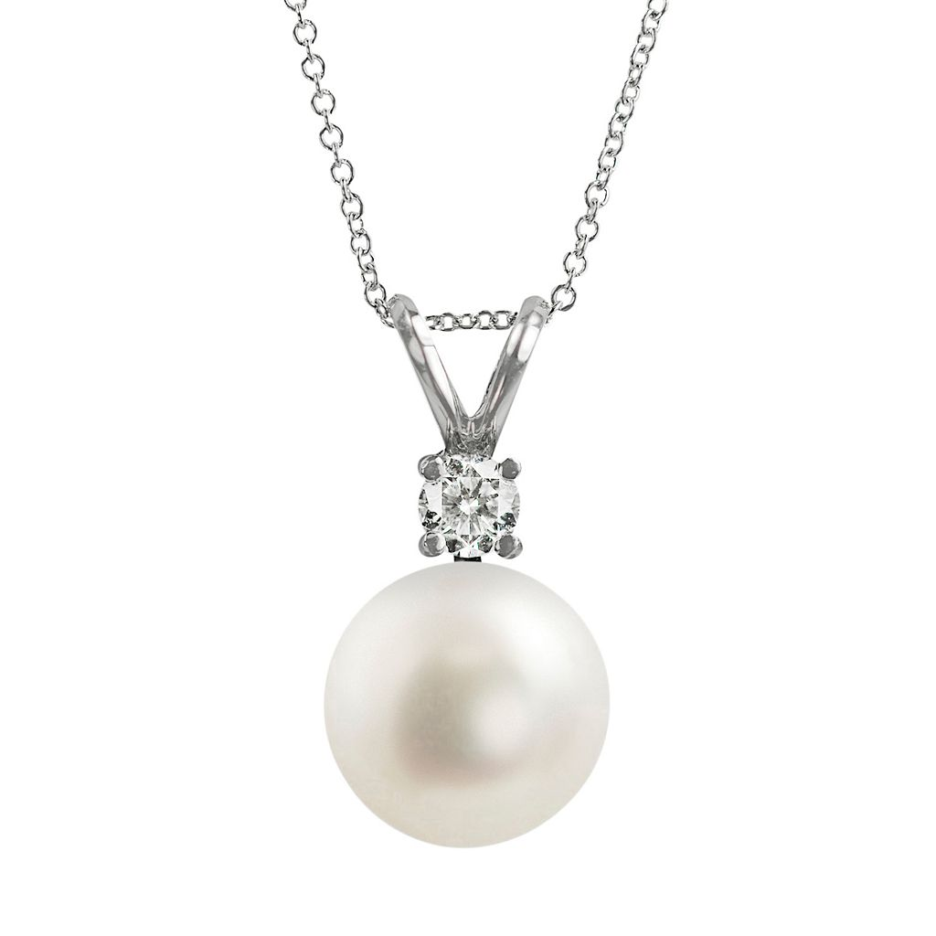 18k White Gold AAA Akoya Cultured Pearl & Diamond Accent Pendant
