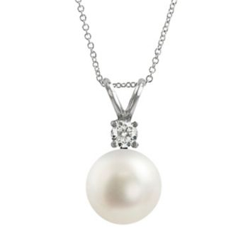 18k White Gold 1/10-ct. T.W. Diamond and AAA Akoya Cultured Pearl Pendant