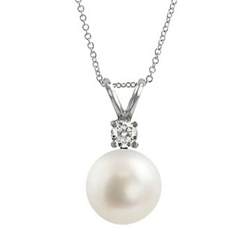 18k White Gold 1/10-ct. T.W. Diamond & AAA Akoya Cultured Pearl Pendant