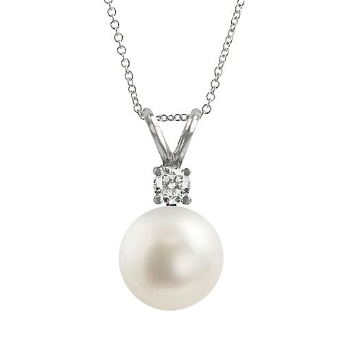 18k White Gold 1/10-ct. T.W. Diamond & AAA Akoya Cultured Pearl Pendant