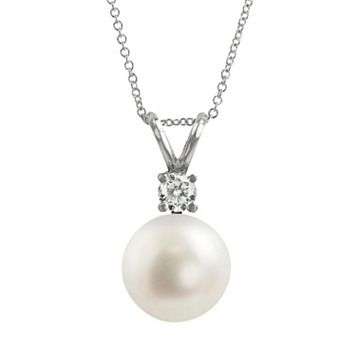 18k White Gold AAA Akoya Cultured Pearl & Diamond Accent Pendant