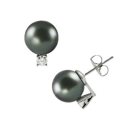 18k White Gold 3/10-ct. T.W. Diamond &Tahitian Cultured Pearl Stud Earrings