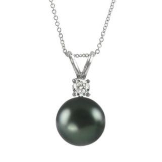18k White Gold Tahitian Cultured Pearl Pendant