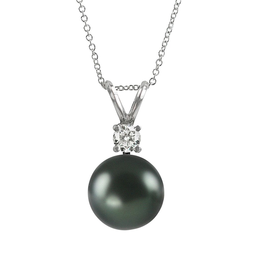18k White Gold 1/10-ct. T.W. Diamond & Tahitian Cultured Pearl Pendant