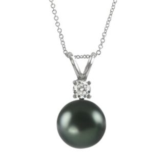 18k White Gold 1/10-ct. T.W. Diamond and Tahitian Cultured Pearl Pendant