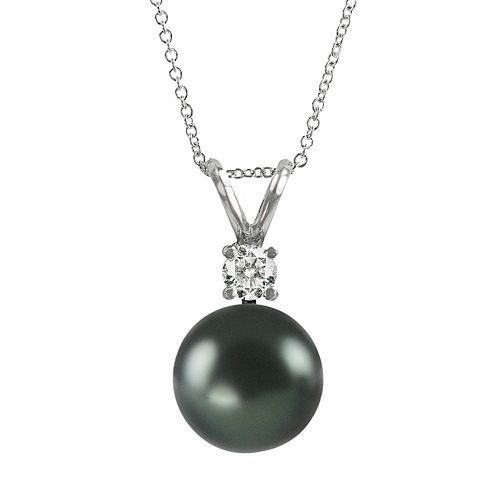 18k White Gold 1/10-ct. T.W. Diamond & Tahitian Cultured Pearl Pendant