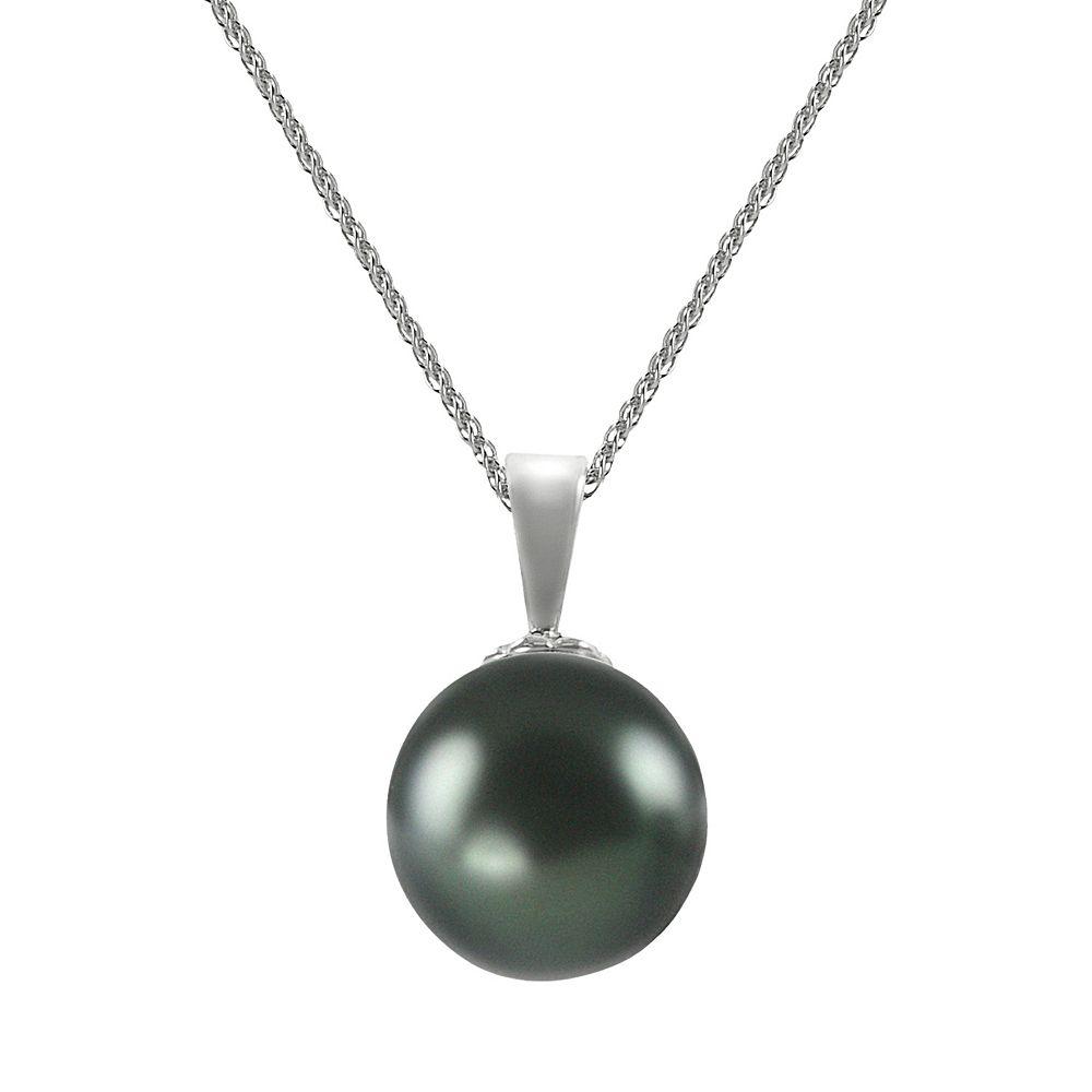 18k White Gold 1/4-ct. T.W. Diamond & Tahitian Cultured Pearl Pendant