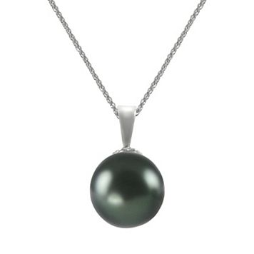 18k White Gold 1/4-ct. T.W. Diamond & Tahitian Cultured Pearl Pendant
