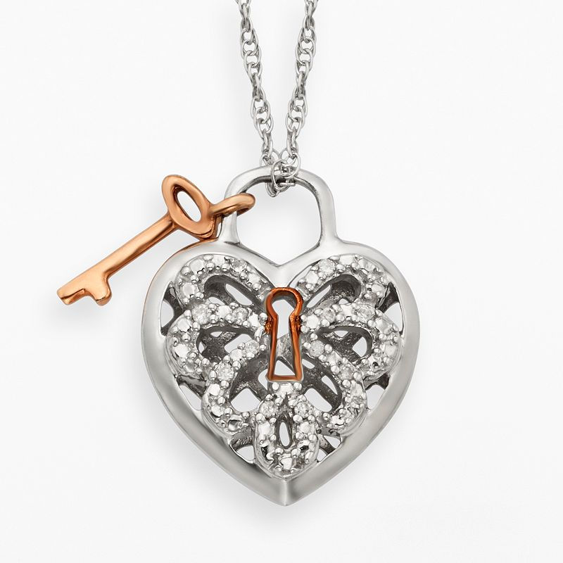 Sterling Silver Two Tone Diamond Accent Heart and Key Pendant