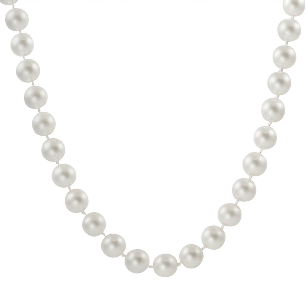 18k White Gold 1/10-ct. T.W. Diamond & AAA Akoya Cultured Pearl Necklace