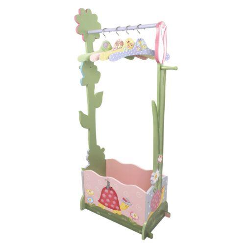 Teamson Kids Fantasy Fields Magic Garden Dress-Up Valet Rack & Hangers Set