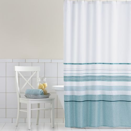 Home Classics Shimmer Blue Fabric Shower Curtain