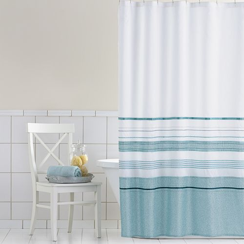 Home ClassicsR Shimmer Blue Fabric Shower Curtain