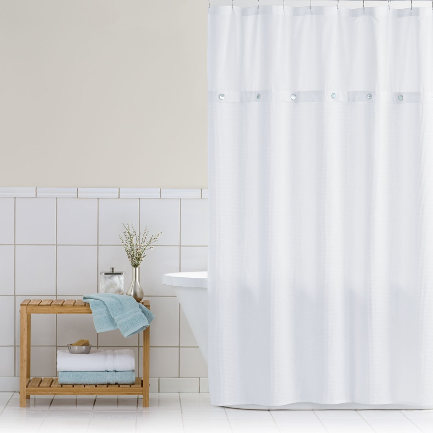 Classics Waffle Retreat Fabric Shower Curtain