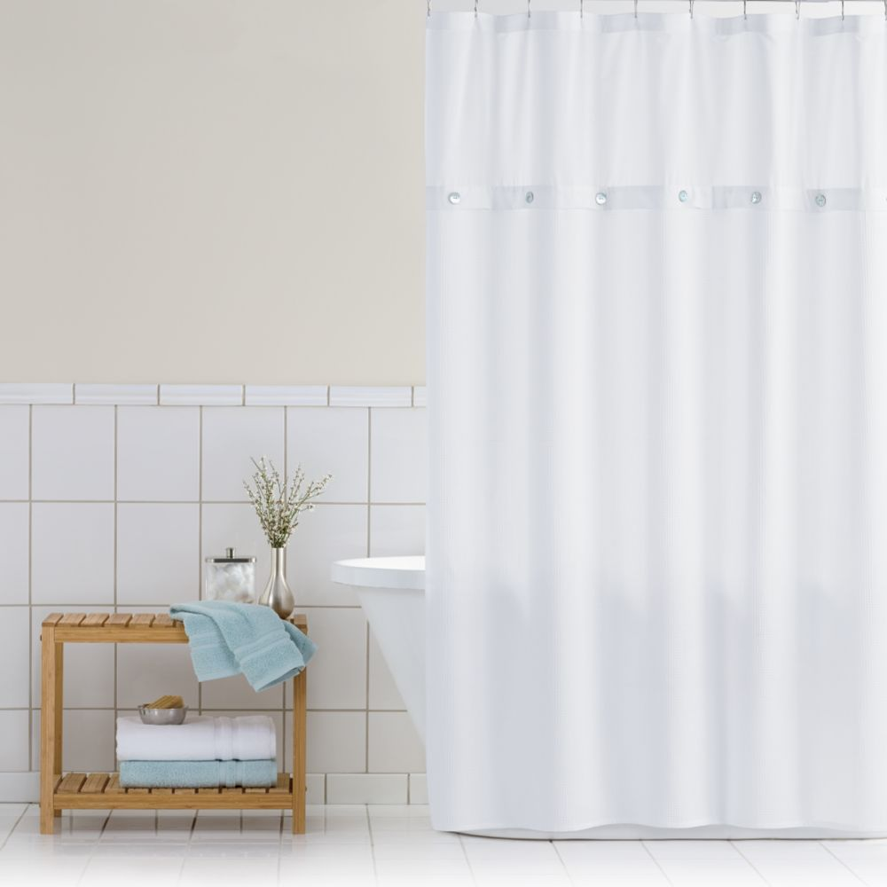 White Waffle Shower Curtain classics® waffle retreat fabric shower curtain