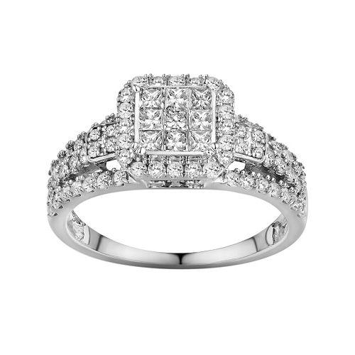 10k White Gold 1 Ct Tw Diamond Frame Ring