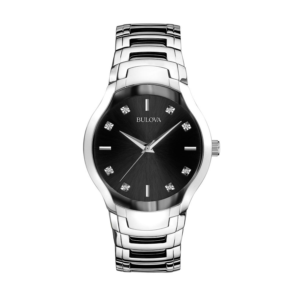 stainless steel diamond accent watch 96d117 men bulova stainless steel diamond accent watch 96d117 men