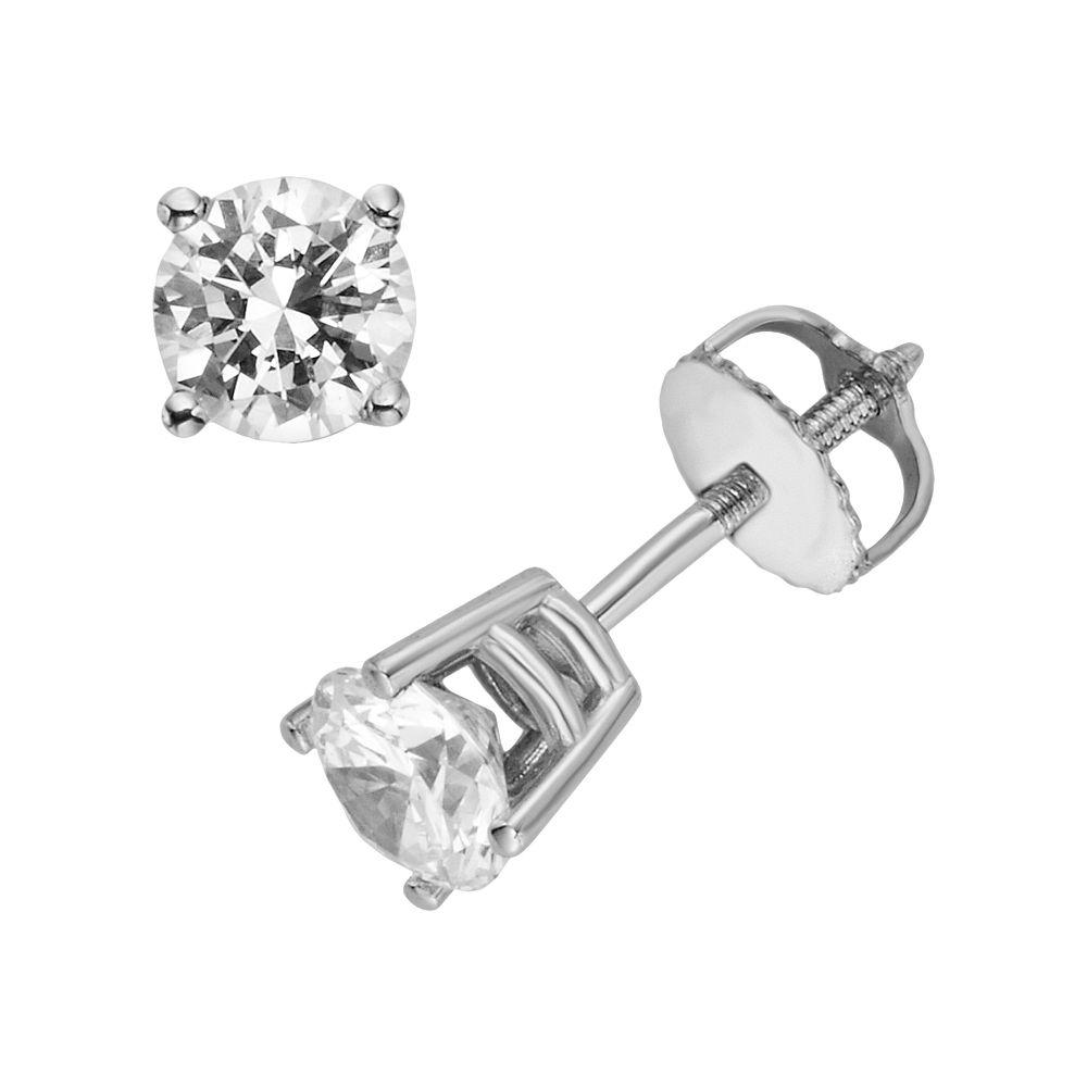 18k White Gold 1-ct. T.W. Ideal-Cut IGL Certified Diamond Stud Earrings