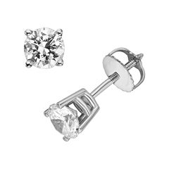 18k White Gold 1-ct. T.W. Ideal-Cut IGL Certified Diamond Stud Earrings