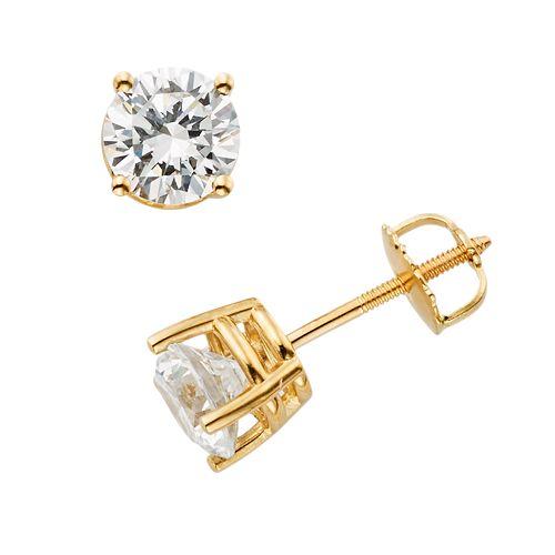 18k Gold 1/2-ct. T.W. Ideal-Cut IGL Certified Diamond Stud Earrings