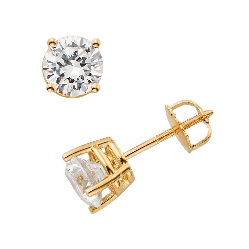 18k Gold 1-ct. T.W. Ideal-Cut IGL Certified Diamond Stud Earrings